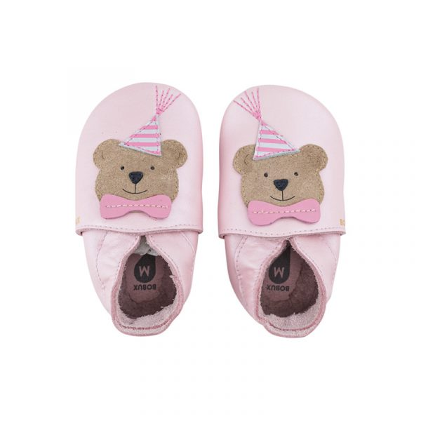 100013761 Bobux Babbucce Soft Sole Party Bear Blossom Pearl